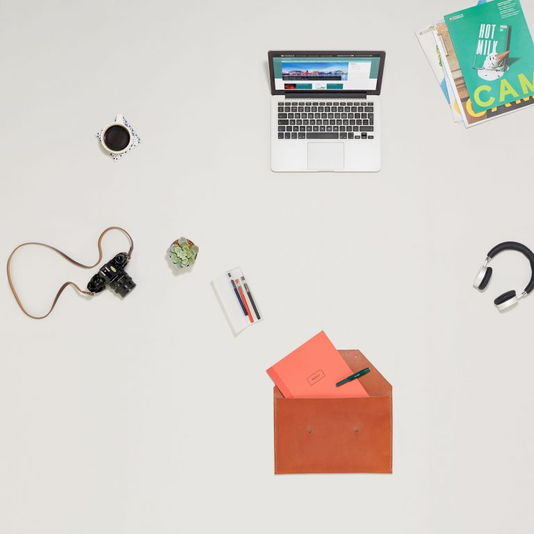 Bird's-eye view of items on desk