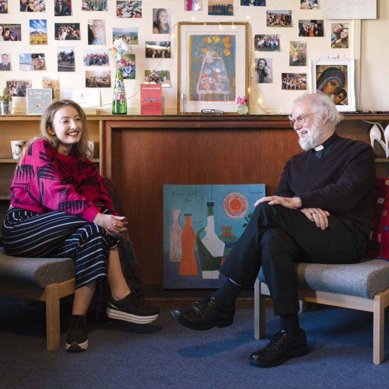 Cambridge Student Grace Etheridge and past student Rowan Williams, 2019