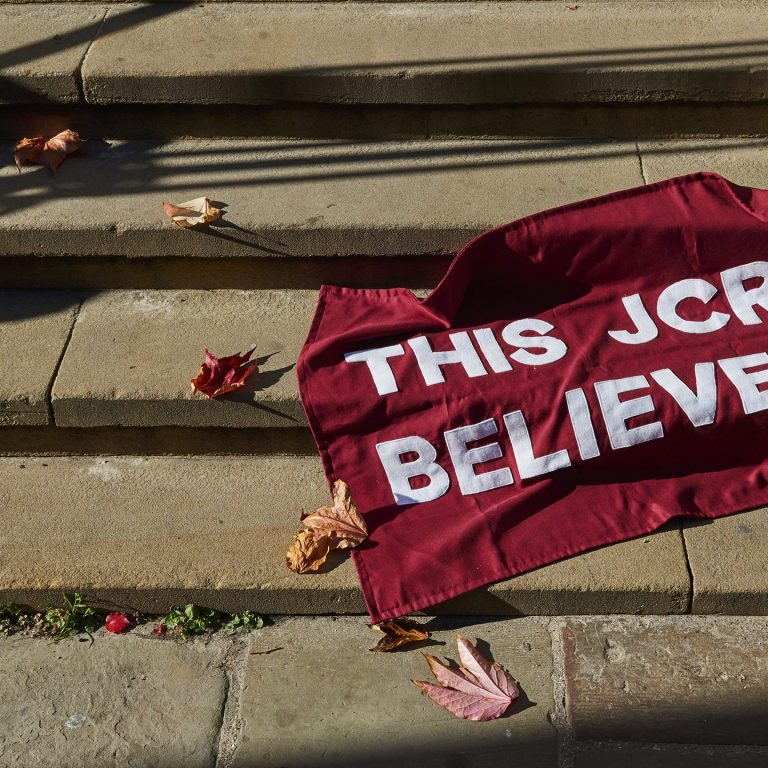 'This JCR believes' banner