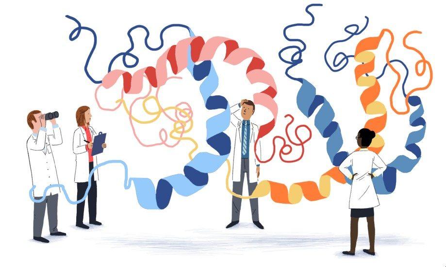 Scientists investigating proteomics