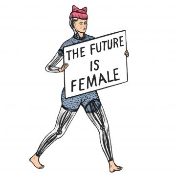 """Ava, humanoid robot, holding placard saying """"the future is female"""""""