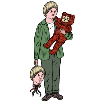 David, a Mecha child holding teddy and severed head