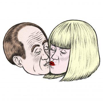 Holly, 10th-generation AI hologrammatic computer kissing bald man