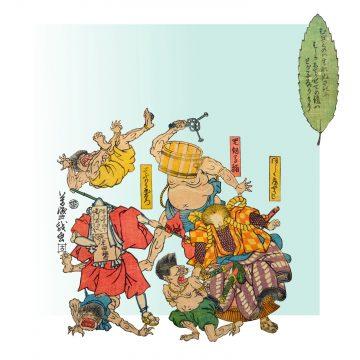 : A poem to defeat measles, Utagawa Yoshitora, Edo (Tokyo), 1862. Colour print from woodblocks. Private collection Suzuran bunko (Cambridge).