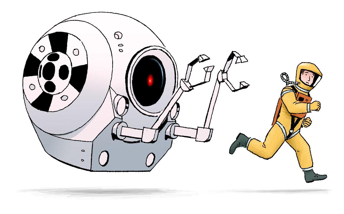 Robot chasing human