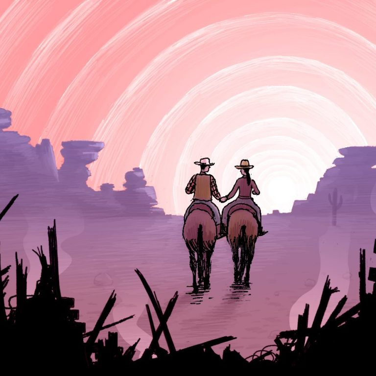 Riding into sunset