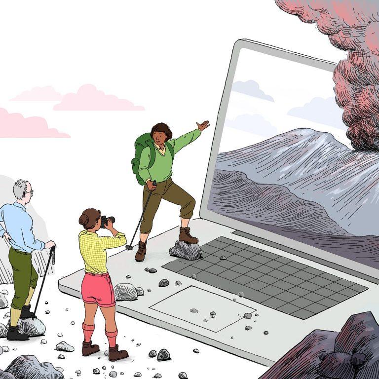 laptop showing volcano