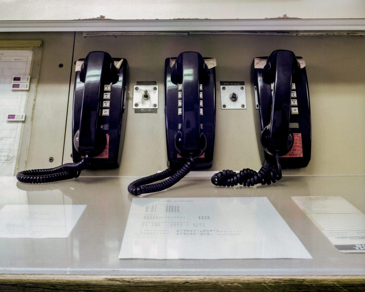 Row of telephones