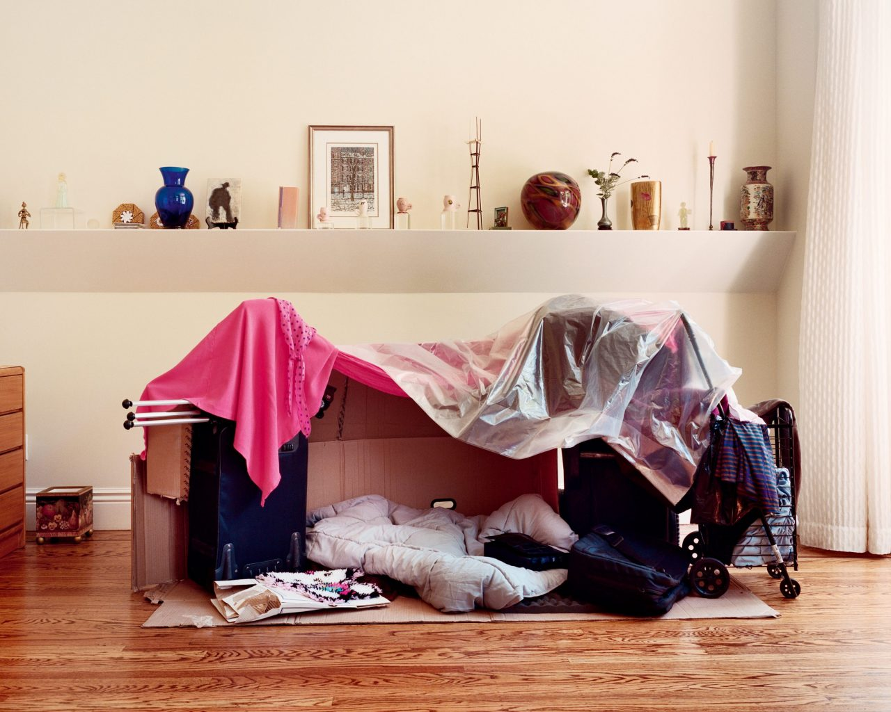 Temporary shelter in living room