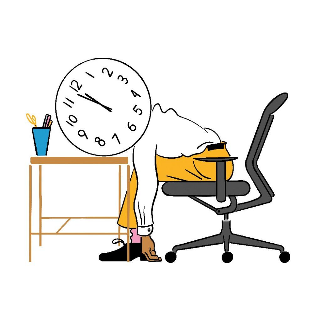 Person with head on table and face as a clock