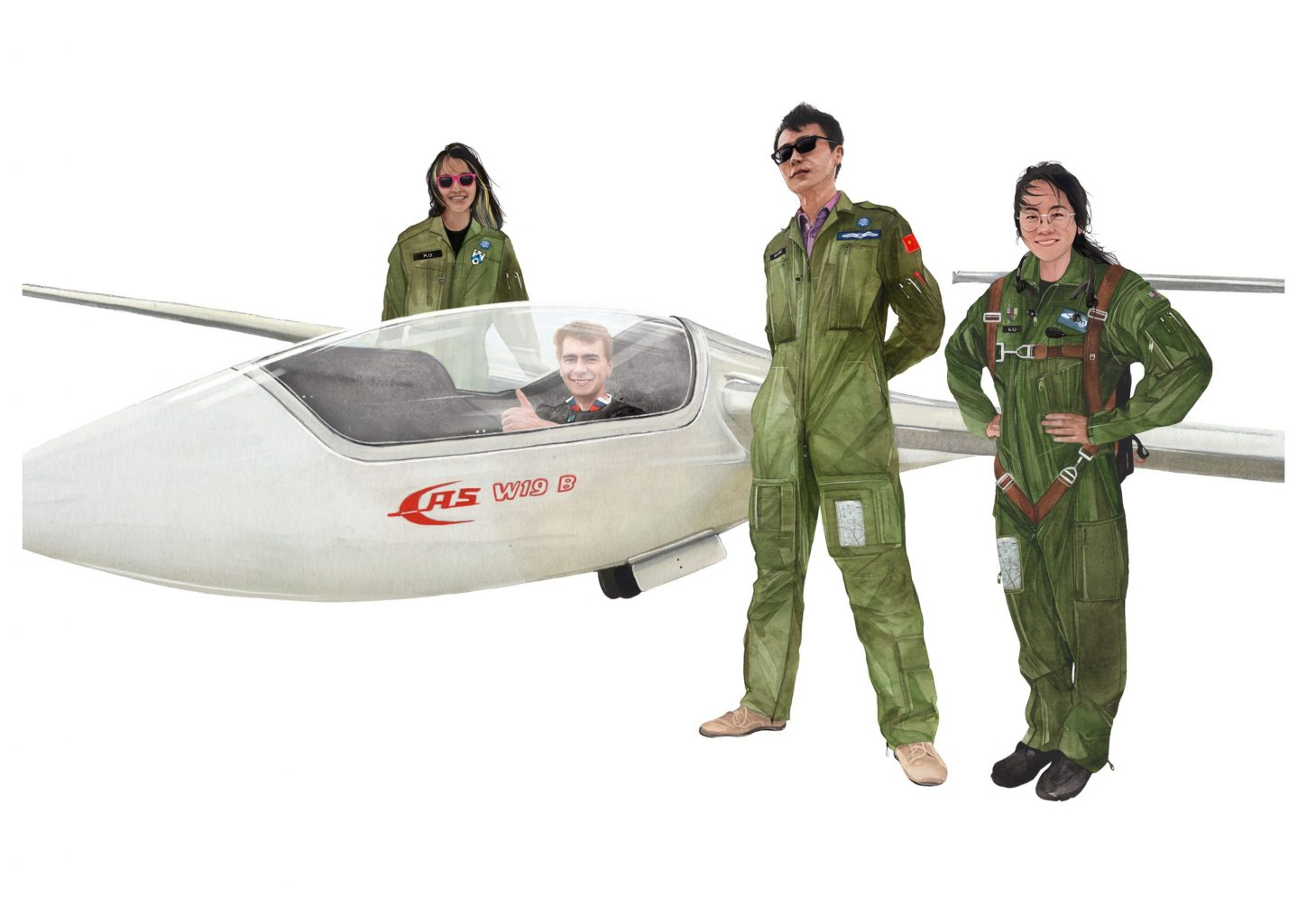 Students and glider